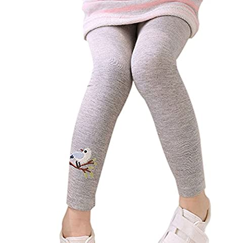 Bébé filles Leggings en coton pour enfants, Hankyky pantalons longs étanches Basic extensible en pleine longueur brodé avec motif oiseau et arbre, 2-7 ans