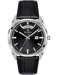 Bulova Mens Analogue Quartz Watch with Leather Strap 96C128