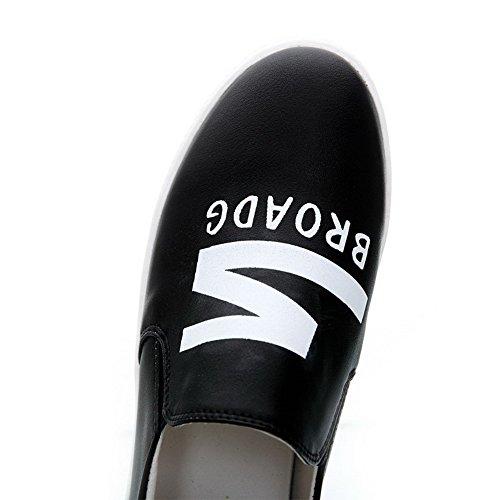 AgooLar Femme Rond à Talon Bas Matière Souple Couleurs Mélangées Tire Chaussures Légeres Noir