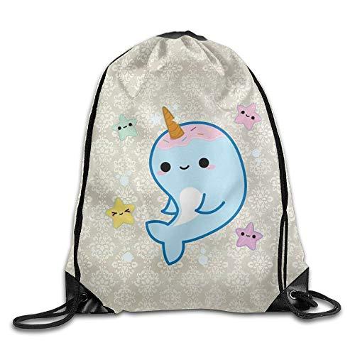 Pillow Socks Advanced Customization Drawstring Sackpack Fancy Narwhal Drawstring Sling Waterproof Backpack Lightweight Backpack