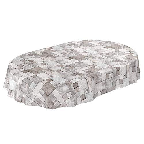 Anro tovaglia ovale in tela cerata, motivo legno, 180 x 140 cm, colore: grigio
