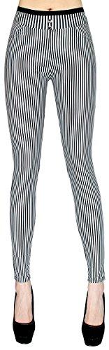 Stylische Damen Hose Skinny Pants / Slim Fit (Röhre) Stoffhose Schwarz Weiß gestreift - DH015 (Jeans Schwarz Gestreifte Skinny)