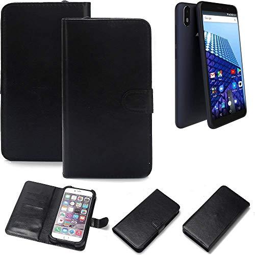 K-S-Trade Wallet Case Handyhülle für Archos Access 57 Schutz Hülle Smartphone Flip Cover Flipstyle Tasche Schutzhülle Flipcover Slim Bumper schwarz, 1x