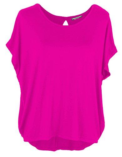 Emma & Giovanni Basic Sommer T-Shirt/Oberteile Kurzarm - Damen (Fuchsie, S/M)