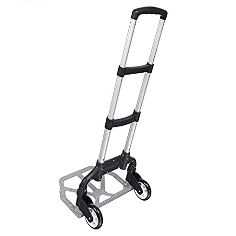 ZEARO 150 lbs Portable Folding Hand Truck Aluminum Alloy Dolly Luggage Carts, Industrial/Travel/Shopping (Size 1,