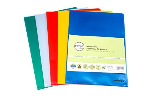 Kunststoff Protector-blätter (perfect line 50 bunte Akten-Hüllen A4, seitlich & oben offen, farbige Klarsicht-Folien, 5 Farben, Sicht-Taschen zum Schutz von Papier & Dokumenten)