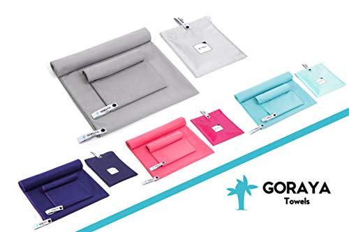 Goraya Mikrofaser Handtuch Set Grau 140x70 cm + 70x40 cm, Sporthandtuch & Reisehandtuch| Ultraleichtes Saunahandtuch| Perfektes Badehandtuch, Strandtuch/Fitnesstuch