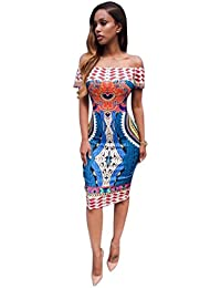 a5255ab244b LONUPAZZ Bodycon Robe Manches Courtes Ete Femme Off Shoulder Traditional Robe  Dashiki Africaine