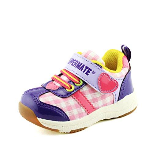 Moderne Nette Hübsche Kinder Mädchen Sportliche Schnürsenkel Gummi Sohle Herzbilder Sneakers Violett