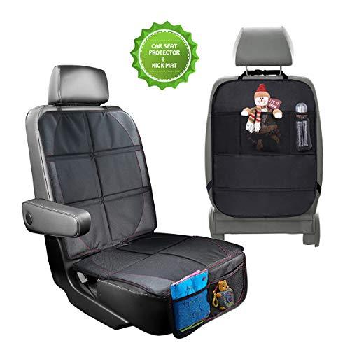 Autositzauflage Kindersitzunterlage FOCHEA Universal Kindersitz Autositzauflage + Auto Rückenlehnenschutz Isofix geeignet für Autositzschoner und Kindersitz