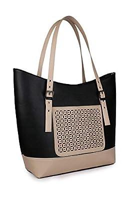 Women Marks Pu Leather Women's Shoulder Bag - Black & Cream (Ship) Combo -Nsb1029