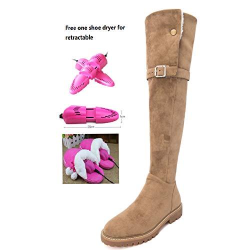BWCX Damen Stiefel aus Wildleder, mit seitlichem Reißverschluss und Gürtelschnalle, inkl. gratis Schuhtrockner, Schwarz, 35