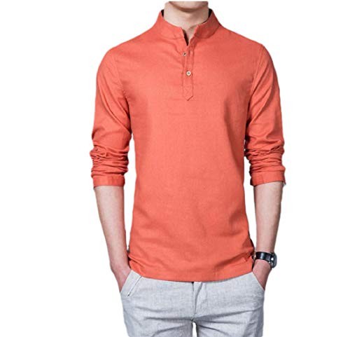CuteRose Mens Pure Colour Plus Size Long-Sleeve Linen Baggy Western Shirt Orange 4XL (Western Shirt 4x)