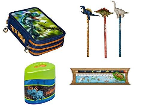 T-Rex World Die Spiegelburg 4-teiliges Schulschreib-Set 14536 114270 12242 11141 3-Fach Federmäppchen + Bleitstift mit Topper (Keine Motivauswahl möglich) + Doppelanspitzer + Linealset
