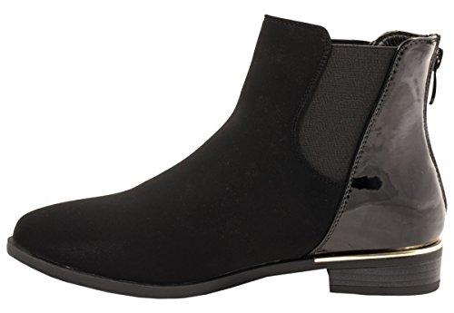 Elara Damen Stiefelette   Chelsea Boots Zipper Lack   Bequeme Lederoptik Schwarz