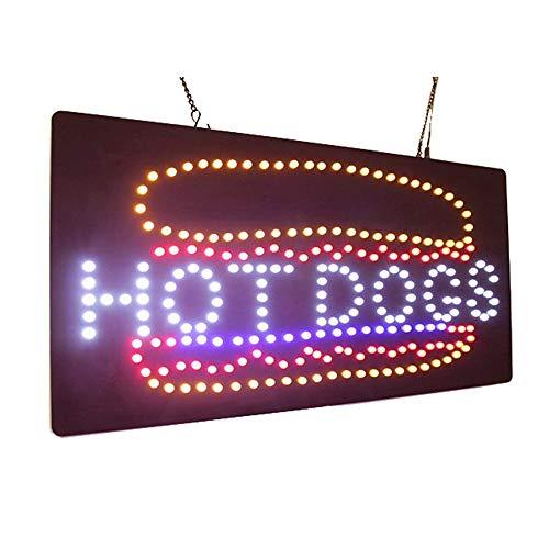 Hot Dogs LED-Schild - Super Helle, Qualitativ Hochwertige LED-Schilder, Ladenschilder, Fensterschilder, LED-Leuchtreklame (19 X 10 Zoll)