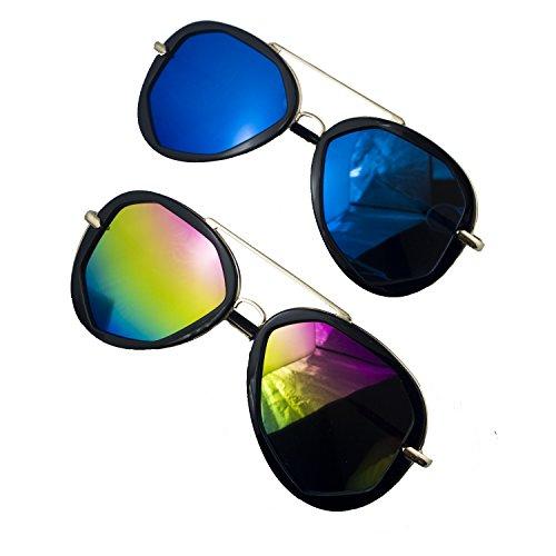 Hand® 2 Pairs of Funky Metal und Black Frame Mode zeigen Pilotenbrille - Frame-140 mm breit x Arm 140 mm lang - 100% UV400 Schutz