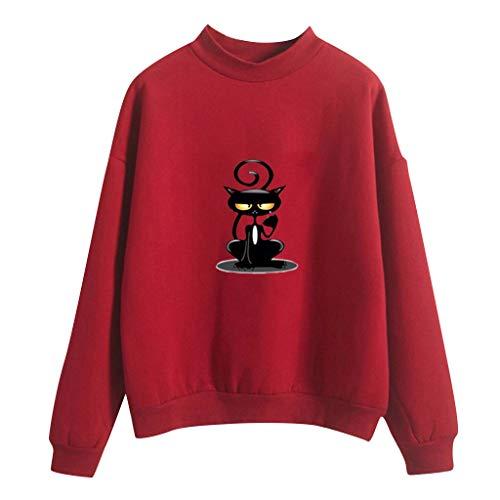 Katze Kostüm Mensch Vampir - Honestyi Frauen O Ansatz Normallack Katzen Muster Lange Hülse Plus Samt Sweatshirt Lässiger einfarbiger Damen-Pullover mit Katzenmuster und Langen Ärmeln(Rot,XL)