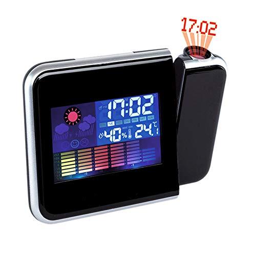 PLEASUR Projektions Wecker, Digitaluhr Projektor Thermometer Hygrometer Wetterstation Dual Alarm Schlummerfunktion Bunte Hintergrundbeleuchtung Stumm USB Aufladung FüR Schlafzimmer BüRo, Black