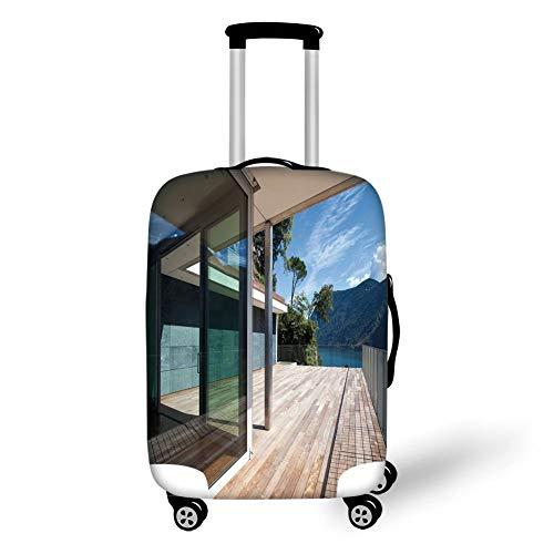 Travel Luggage Cover Suitcase Protector,Patio Decor,Summer House Patio Terrace Veranda Lake Mountain Trees Image,Light Brown White and Black,for TravelXL 29.9x39.7Inch (Veranda, Patio Set)