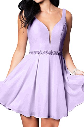 Prom Style Damen Attraktiv Chiffon Traeger Ruckenfrei Abendkleider Ballkleider Cocktailkleider A-Linie Kurz Partykleider Tanzenkleider Lila