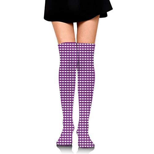 Ljkhas232 Thigh High Socks Purple Close Plaid Knee High Long Socks Boot High Socks for Women -