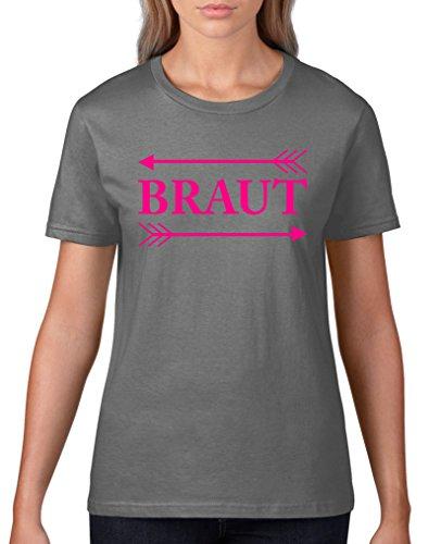 Comedy Shirts - Braut Pfeile - Damen T-Shirt - Dunkelgrau / Pink Gr. XL (Pfeil Adidas)