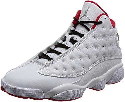 Nike Scarpe Uomo Jordan 13 History of Flight BG in Pelle Bianco e Rosso 414571-103