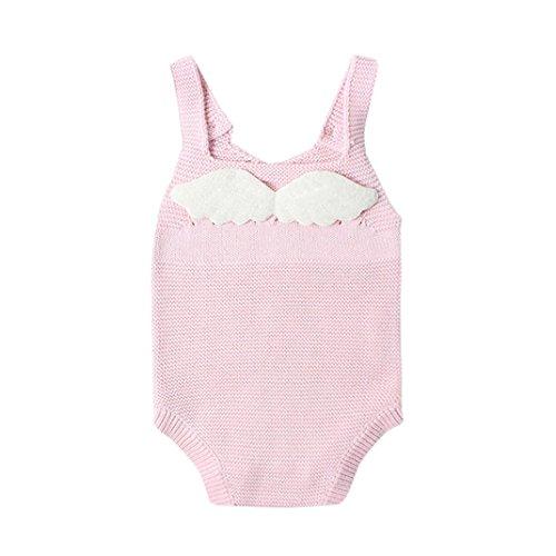 Janly Neugeborene Baby Jungen Mädchen Engel Flügel Strickband Overall Kleider Spielanzug (6M, rosa) (Lange Engelsflügel Kostüm)