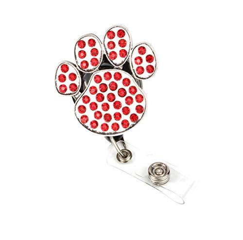 Surlove Hundepfotenabzeichen, einziehbar, mit Gürtelclip, für Namensschilder und Namensschilder Red Dog Paw Print