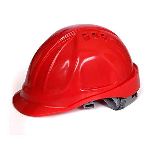 WYNZYSLBD Schutzhelm Arbeitshelm, Schutzhelm Mit Kinnriemen , Unisex - Belüfteter Bauarbeiterhelm Mit (Color : Red)