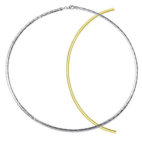 MATERIA Collier Gold Damen Kette 45cm - Halskette Frauen Silber 925 rhodiniert vergoldet Hochzeit Schmuck CO-18-45cm