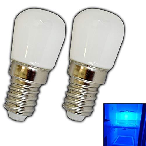 2x Stk. E14 LED Lampe 1,5 Watt blau/Blaulicht für den Kühlschränke/Lampen uvm. - E14/SES Leuchtmittel Kühlschrank Birne Glühbirne Ersatz (E14 1,5W Glas) Blaue Led-licht