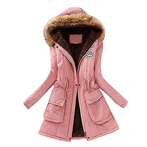 Elecenty cappotto invernale da donna pelliccia faux giacca parka con cappuccio in pelliccia cardigan lungo elegante trench jacket outwear (xl, rosa 2)
