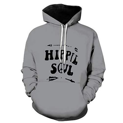 rren Damen 3D Brief Druck Herbst Hoodie Sweatshirt Kapuzenpullover Grafik Langarm Pullover Top Jumper Streetwear ()