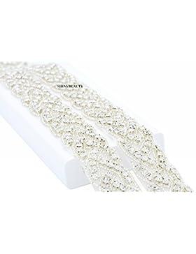 ShinyBeauty RA027 - Cinta con piedras de estrás, diseño para vestidos de novia Champagne Ribbon