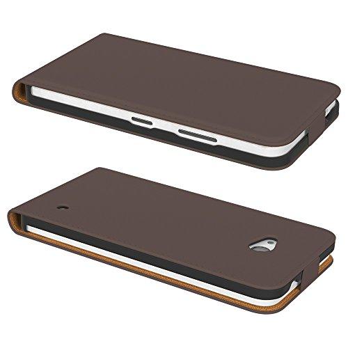 PREMIUM - Flip Case für - Nokia Lumia 535 - Wallet Cover Hülle Schutzhülle Etui Tasche Schwarz Braun (Flip)