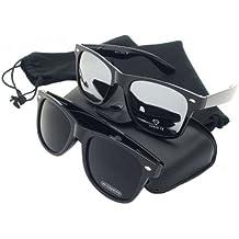 PURECITY© Produit Original - Lot de 2 Paires de lunettes de soleil style Wayfarer - Geek Retro Vintage 80's - Monture Noir - Verre Noir + Verre effet miroir - Fashion Tendance