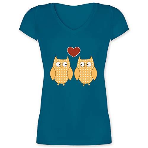 Eulen, Füchse & Co. - Verliebte Eulen Pärchen Herz - 3XL - Türkis - XO1525 - Damen T-Shirt mit V-Ausschnitt