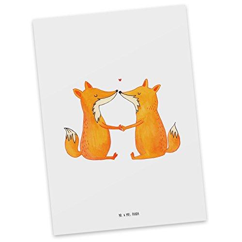 Mr. & Mrs. Panda Grußkarte, Karte, Postkarte Füchse Liebe - Farbe Weiß
