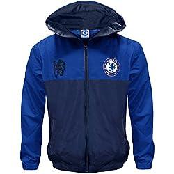 Chelsea FC - Chaqueta cortavientos oficial - Para niño - Impermeable - Estilo retro - 6-7 años