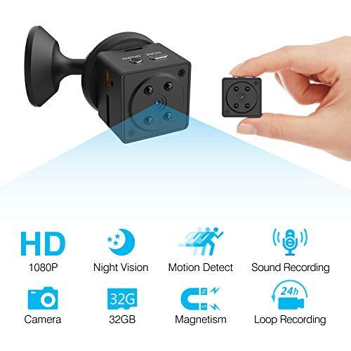 HEYSTOP Mini Telecamera Nascosta, Spia Camera Microcamere Spia videocamera Nascosta 1080P HD Wireless Rilevamento di Movimento Portatile Videocamera di Sorveglianza Registrazione in Loop