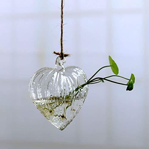VBJDKB Retro Blumen-Hängender Vasen-Glaspflanzer-Betriebsterrarium-Behälter-Ausgangshochzeits-Dekor, Herz (Moderne Vase Und Geschenk)