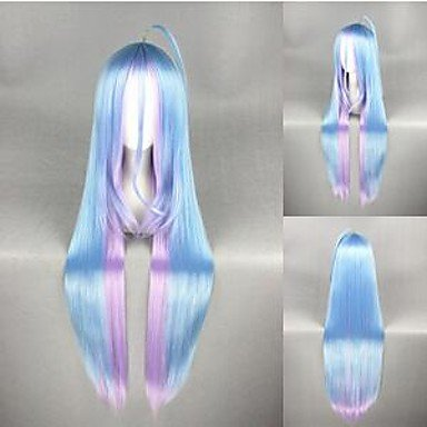 Perruque & GY Perruques Fashiondroite longue aucun jeu pas de couleur de la vie animée mixte cheveux perruque