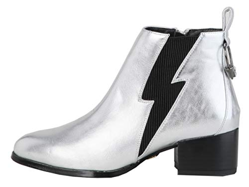 Buffalo Alice Damen Stiefeletten,Ankle Boots,Stiefel,Halbstiefel,Bootie,knöchelhoch,Reißverschluss,Silver,40 EU