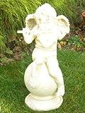 Unbekannt Figur Engel auf Kugel sitzend mit Flöte H 67 cm Dekofigur aus Kunstharz