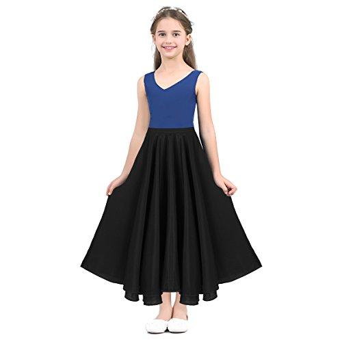 Alvivi Falda Larga de Ballet Clásica Traje de Danza Niña Flamenco Tango Sevillanas Vestido Chicas Skirts SZ 6-14 Años Negro 8 Años