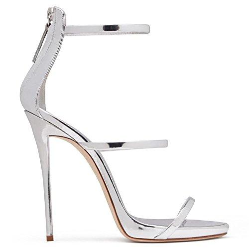 Donna Sexy Caviglia Cinghia Le signore Sbirciare Dito del piede Stiletto alto Tacco Brevetto Pelle Blu Cerniera sandali Scarpe Silver