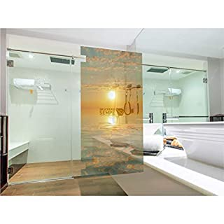 Interfoil Glas -duschkabinen Dekor Sonnenuntergang, Sichtschutz Duschabtrennung, hochwertiger Druck auf Glasdekor -Folie in Sandstrahl -Optik mit satinierten Oberfläche