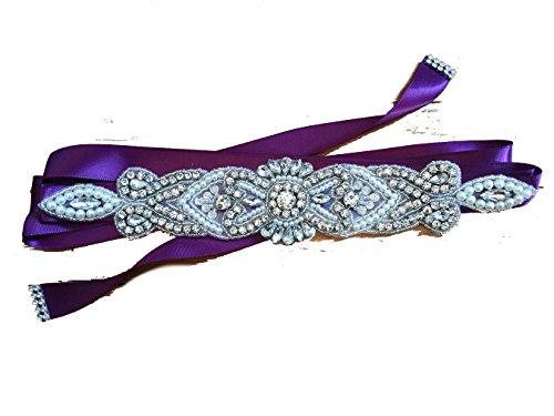 Lia Brautgürtel, Strassgürtel, 270x2 cm, Satin, Vintage dunkles Violett, Vintage Gürtel zum...